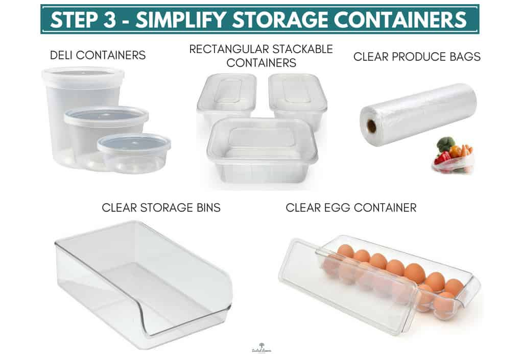 Clear food storage containers on white background.