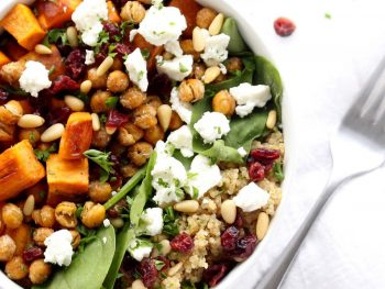 Sweet potato and quinoa salad in white bowl.