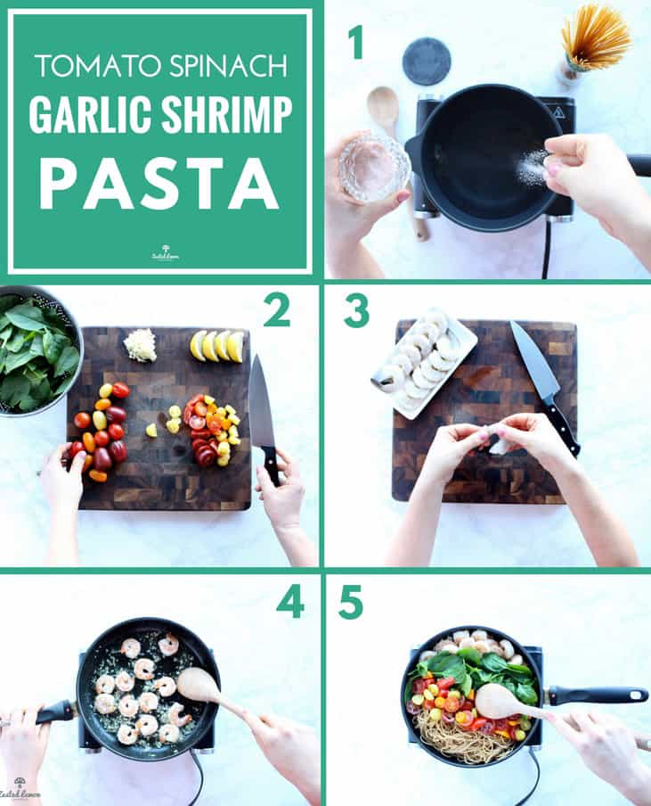 Instructions to make shrimp pasta recipe.