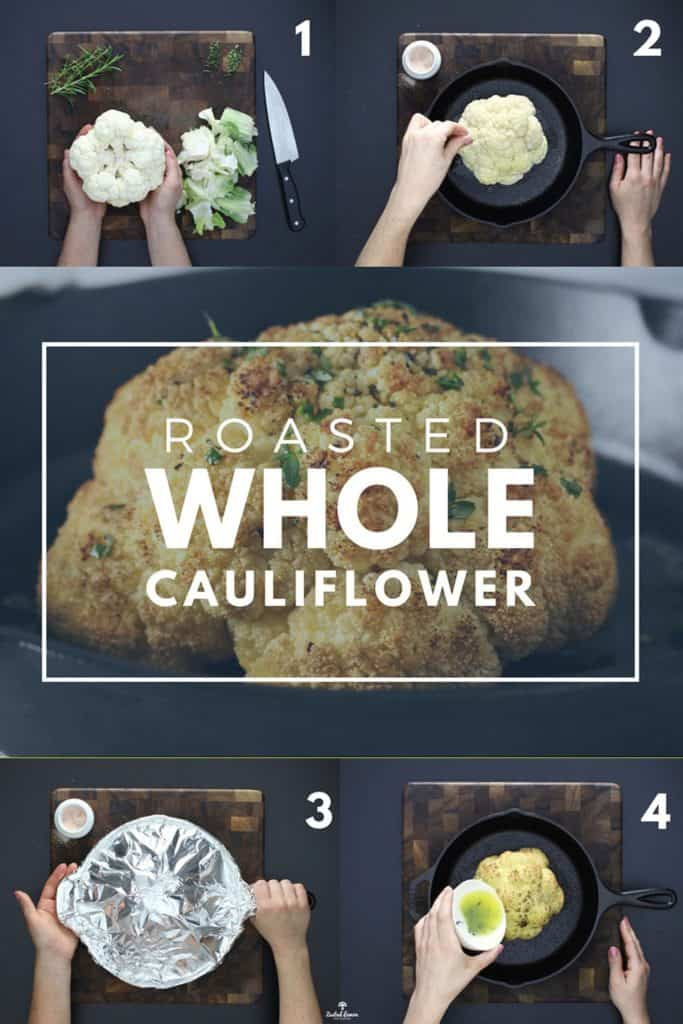 Instructions to make whole roasted cauliflower on brown cutting board.